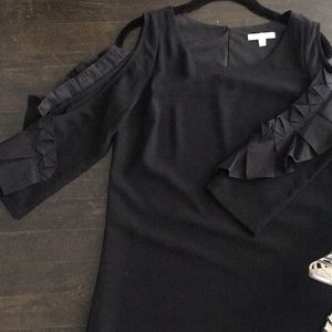 Skies Are Blue Cold Shoulder Longsleeve Ruffle LBD
